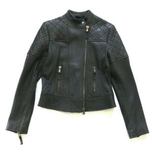 Eleventy Quilted Moto Leather Jacket 44 S M Brown